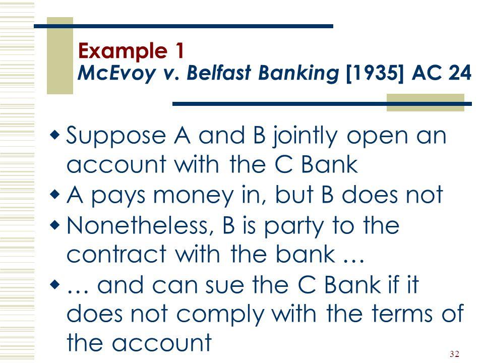 Example 1 McEvoy v. Belfast Banking [1935] AC 24